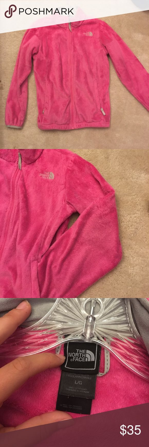 Hot pink North Face Girls large , little wear on elbows and bottom The North Face Jackets & Coats