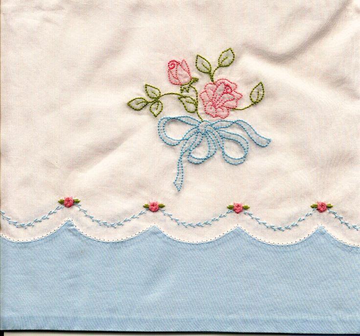 Machine Shadow Embroidered Pillowcase | Janice Ferguson Sews