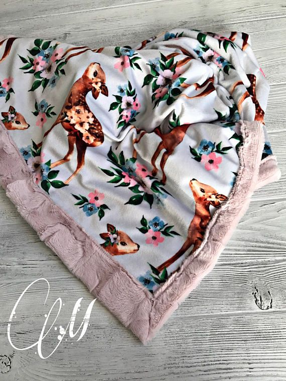 ***Options*** Please read carefully!! Beautiful Deer with pink hide backing. Minky blankets are minky on both sides. Check shop info for turnaround time. Minky Baby blanket - Measures approximately 28x38 inches. Great for strollers, car seats, swaddling etc Minky Toddler/Crib -