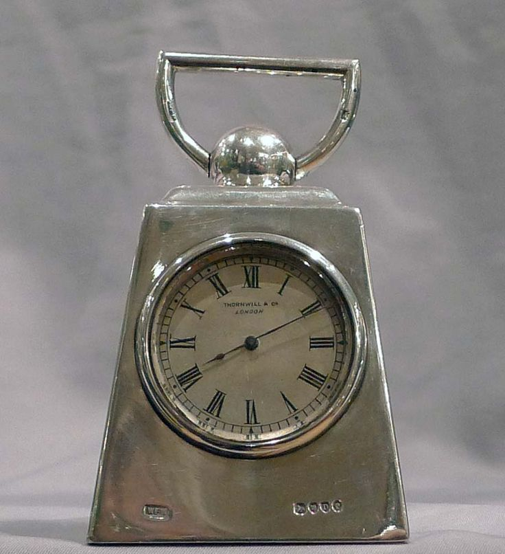 Antique and extremely unusual silver carriage clock in form of a pound weight - Gavin Douglas Antiques