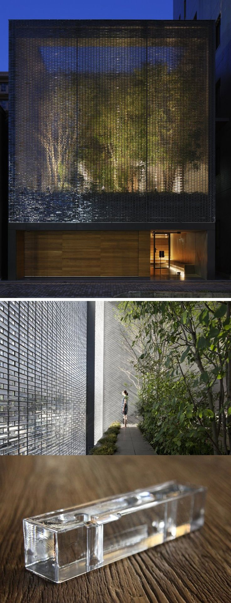 Nakamura's Optical Glass House is composed of roughly 6000 glass blocks strung together by stainless steel. The soundproof blocks not only cancel out the bustling cars and trams but they also create a façade that functions much like an urban noren -allowing light and air to pass through while revealing only a mosaic of the lush garden inside