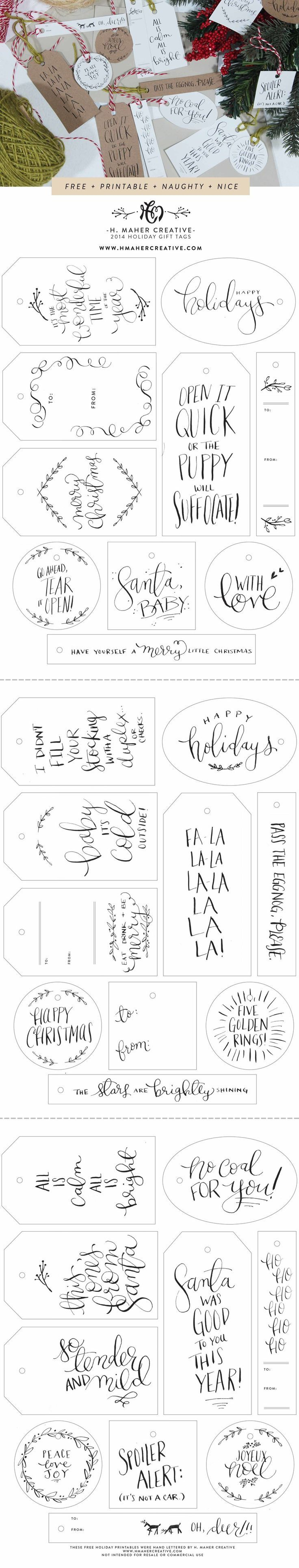 Naughty + Nice // 30 Free Hand-Lettered Holiday Gift Tag Printables from H. Maher Creative (www.hmahercreative.com)  hand lettering // calligraphy // diy // holiday // christmas // gift wrap // hanging tags // funny // cute // illustrated