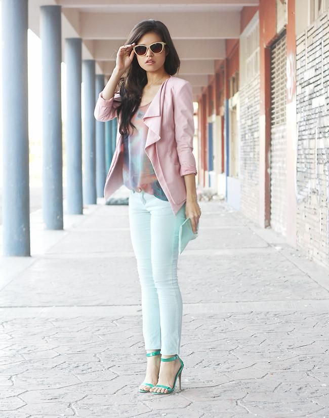 Mint green jeans and pink waterfall jacket
