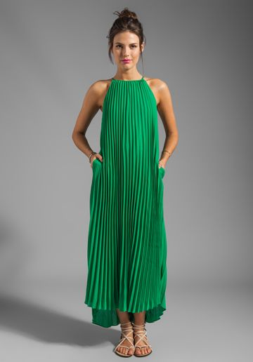 LINE & DOT Pleated Maxi Dress in India Green at Revolve Clothing - Free Shipping!