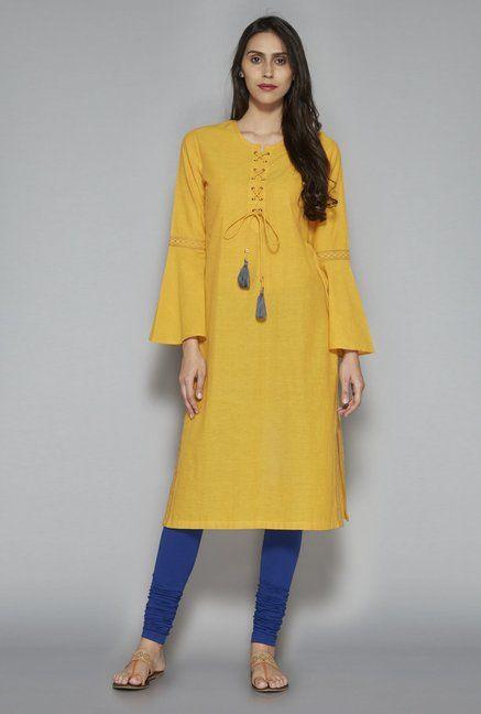 2f98643f0 Utsa by Westside Yellow Pure Cotton Kurta