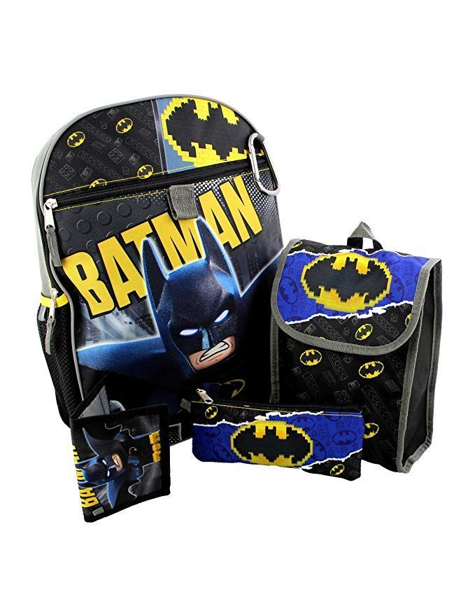 63352b373f8 This awesome Lego Batman 5 piece set includes a 16 inch backpack, a thinly  insulated snack bag, utility pencil case, a wallet, and a carabiner clip.