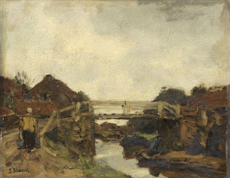 Jacob Maris - Houten brug over een vaart bij Rijswijk
