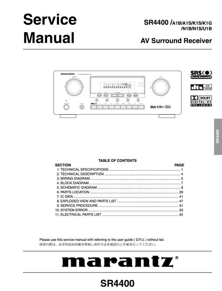 Marantz Sr Service Manual Complete  Marantz Service Manuals