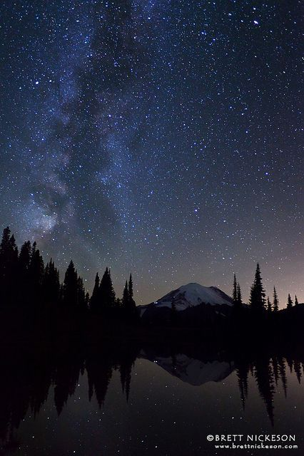 Mount Rainier, Washington; photo by Brett Nickeson: Nature, Starry Night, Mount Rainier, Beautiful Place, U.S. States, Photo, Night Sky, United States