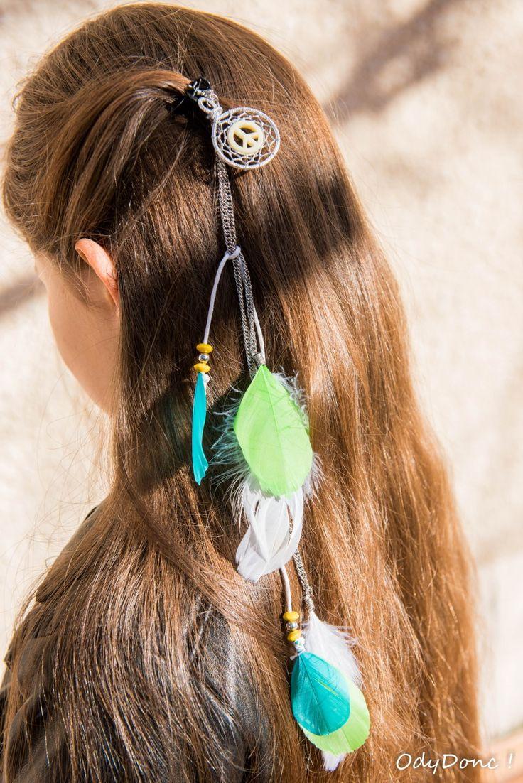 """Bijou de Cheveux Pince Crabe Pendentif Ethnique Dreamcatcher Attrape Rêves Fait Main """"Peace"""" Blanc Vert Turquoise Jaune"""