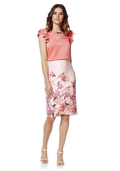Tesco direct: F&F Waterlily Print Scuba Pencil Skirt