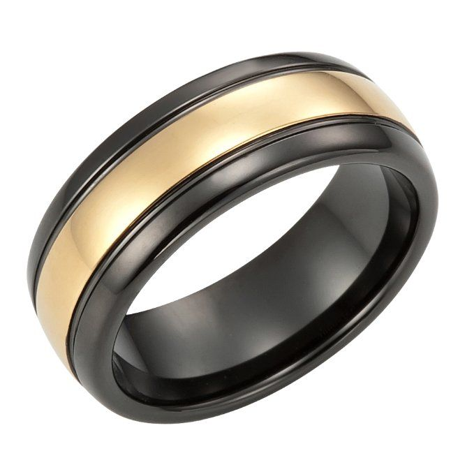 Mens Wedding Rings Black And Gold