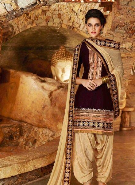 Chocolate color indian patiala salwar kameez in cotton D15444