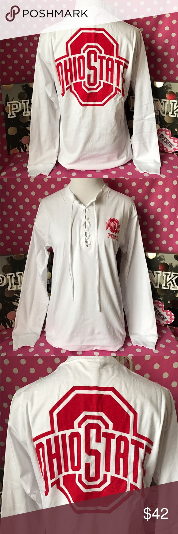 """🆕NWT VS PINK OSU Buckeyes lace up campus tee 💖Thanks for shopping at Candy Land!💖  ✅NWT VS PINK Ohio State Buckeyes lace up campus tee.   ‼️PRICES ARE FIRM ~ My items are priced at the lowest already. Please do not ask """"lowest"""". Remember Posh takes a fee 😩.    ⭐️LOTS OF NWT VS PINK items for sale on my page! ⛔️PLEASE NOTE: NWT= New with tags OR New in online bag. PINK online orders come in bags with NO tags.  🚫NO HOLDS   🚫NO MODELING 🚫I DON'T TRADE ✋LOWBALLS WILL BE IGNORED ✋RUDE…"""