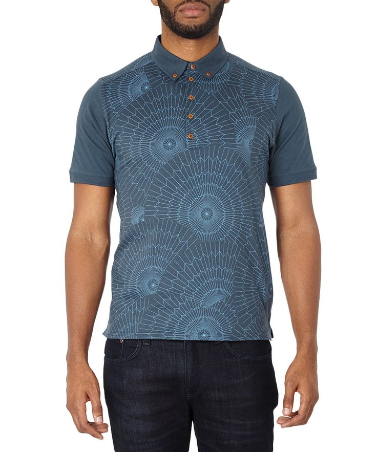 Navy+patterned+pure+cotton+polo+shirt++by+Ben+Sherman+on+secretsales.com