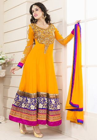 Light #Orange Faux #Georgette #Churidar Kameez