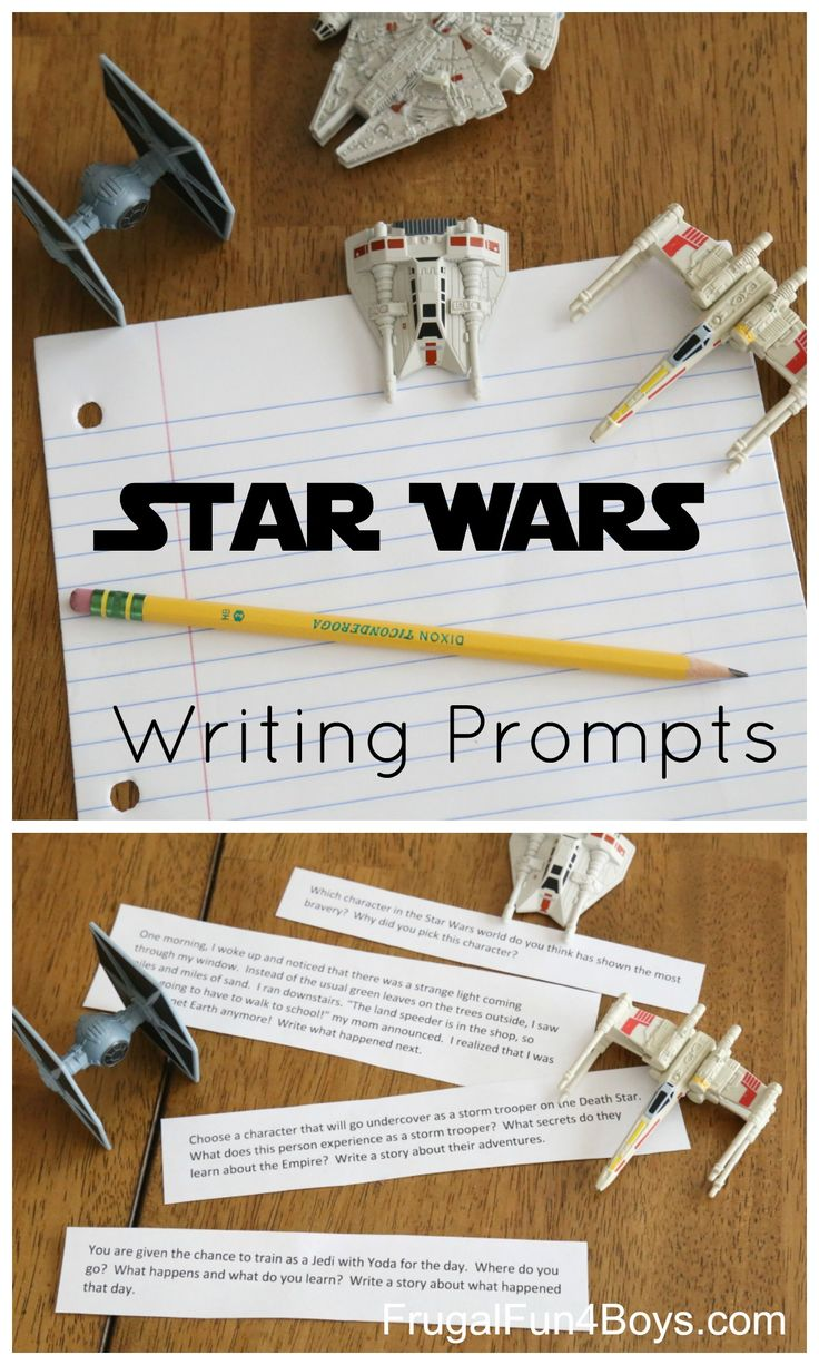 Printable Star Wars Writing Prompts - 16 free writing prompts for 3rd-6th grade.  Perfect for anyone, but especially kids who don't enjoy writing!