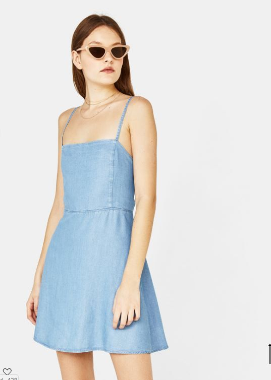9eabc5c2d4 Strappy denim dress with knot - Bershka  fashion  product  denim  tejano   vaquero  blue  azul  trend  trendy  cool  girl  young  outfit  vestido   nudo