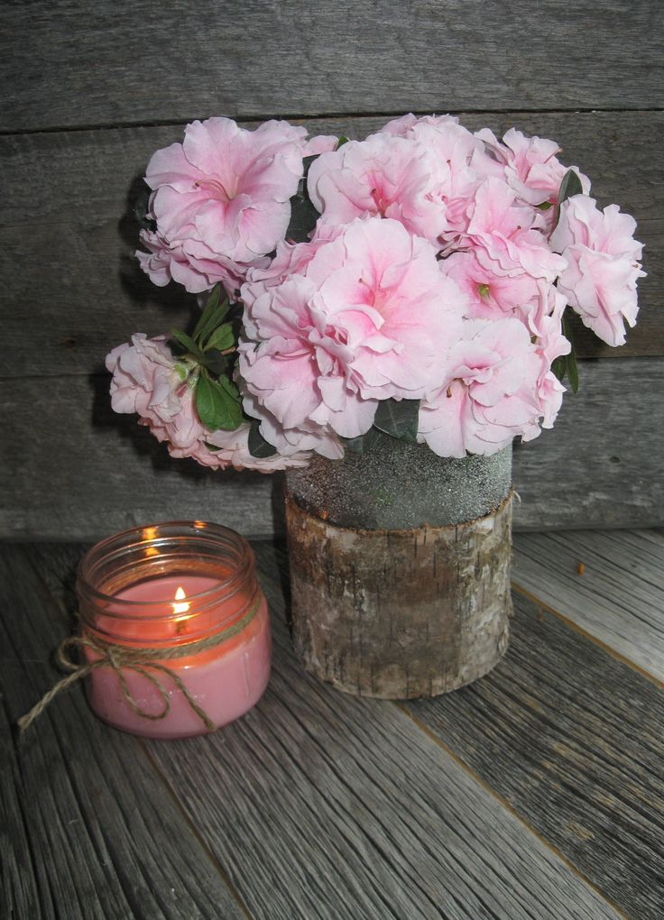 We stock 13 of these bark covered vases...too cute!
