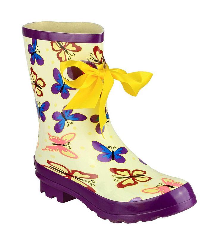 Cotswold Gatcombe Ladies Ribbon Detail Short Ankle Wellington Boot - Robin Elt Shoes  #Festival #Wellies #FestivalWellies #Wellington #WellingtonBoot #UK #Butterflies