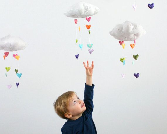 Showered with Love - Heart Rainbow Cloud Mobile - fabric sculpture decoration for nursery