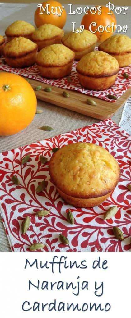 Muffins de Naranja y Cardamomo: Sabor a naranja y aroma de cardamomo. ¡Irresistibles! Encuéntralos en www.muylocosporlacocina.com