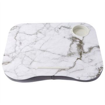 "Our lap desk is a comfy solution to working or reading anywhere. The hard top makes this white marble lap desk perfect for use with laptops, tablets, books, or writing. The lap desk also helps keep laptops cool by allowing the laptop's fans to circulate air. Comes complete with a cup holder. 17.32"" x 1.97"" x 13.39"". Available only at Indigo."