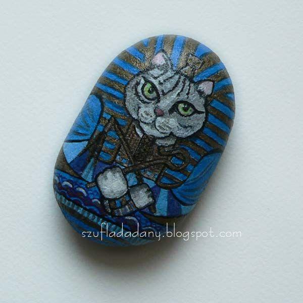 kot Tutmozis/malowany kamień/ast stone
