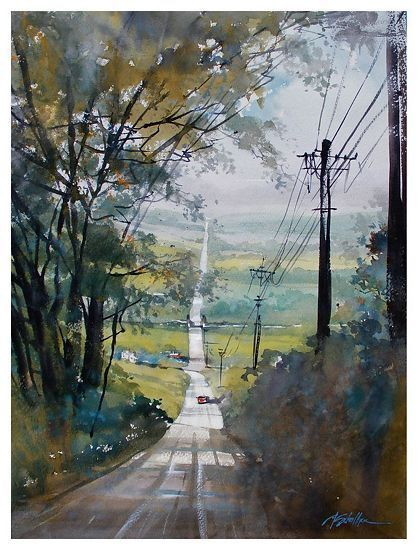 fairmount road - ohio by Thomas  W. Schaller Watercolor ~ 24 inches x 18 inches - Autumn Landscape