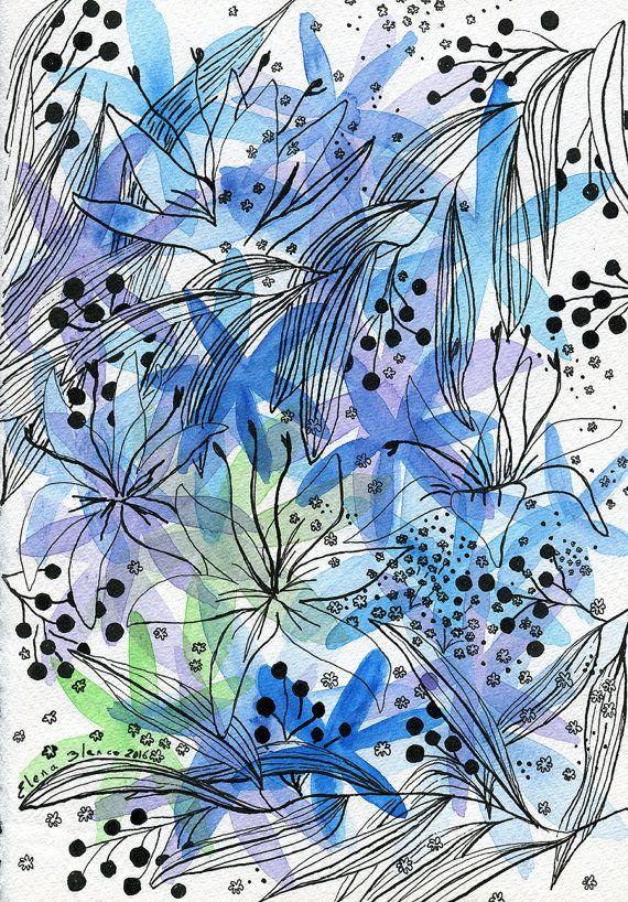 Originele kunstwerken. Originele kunst aan de muur. Florale kunst origineel schilderij. Originele aquarel schilderij. Abstract schilderij bloem