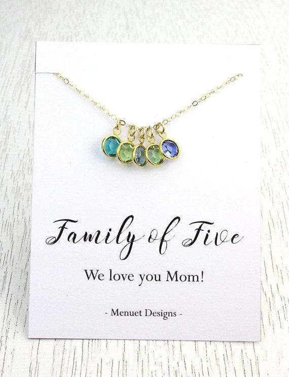 Mother's Day Gift, Mother's Birthstone Necklace, Mother of Four Pendant, Mother of Three, Choice of Message Card, Crystal Birthstones