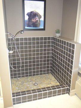Dog wash contemporary bathroom tile. Love it.