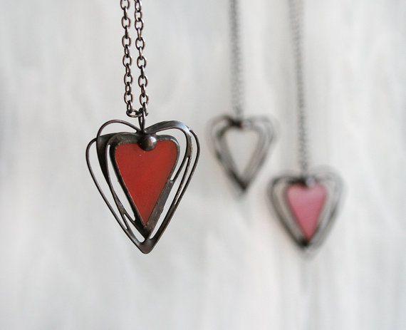 Heart necklace valentines gift modern heart necklace door ArtKvarta