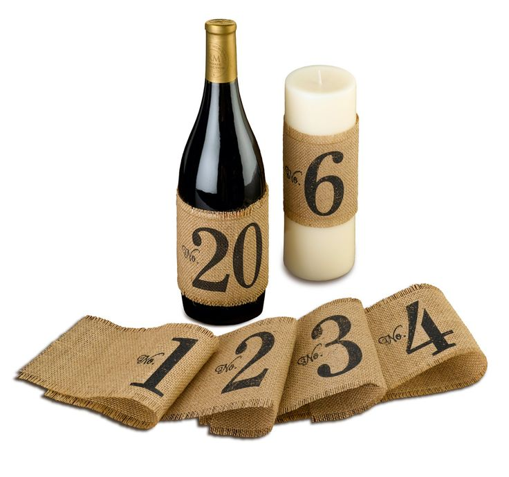 These burlap table number wraps are a great alternative to traditional table numbers. Use them on a wine bottle or candle to create the perfect stylish centerpiece and help your guests find their tabl