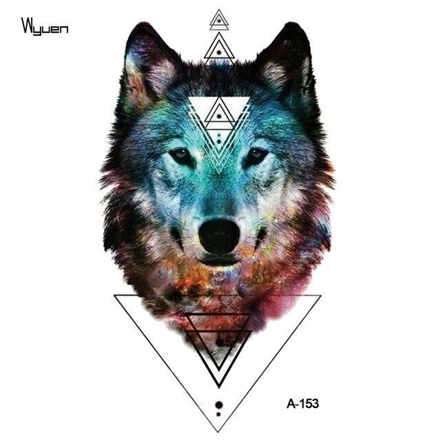 WYUEN Watercolor Wolf Temporary Tattoo Stickers Waterproof Women Fake Hand Animal Tattoos Adult Men Body Art 9.8X6cm A-004