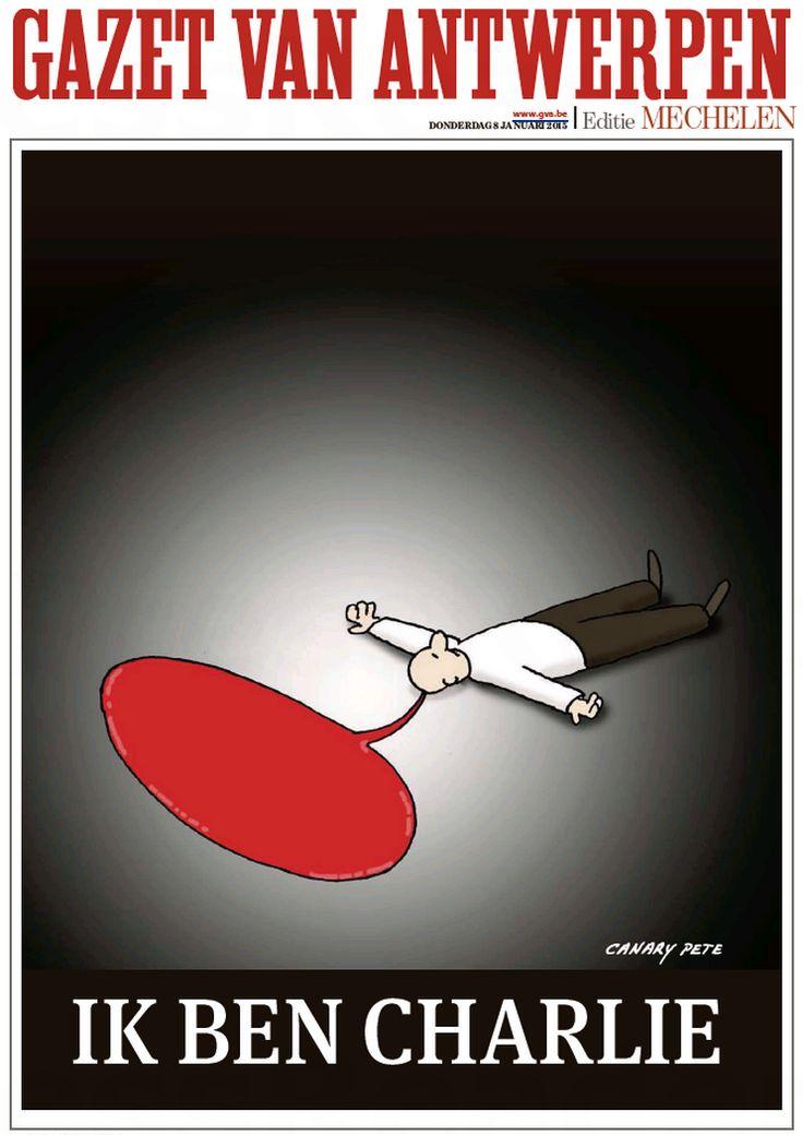 Ik Ben Charlie Je suis Charlie (Une Gazet Van Antwerpen, Belgium) quotidien flamand #CharlieHebdo