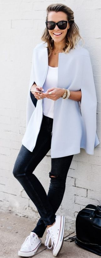 Baby Blue Cape Fall Inspo by What Courtney Wore