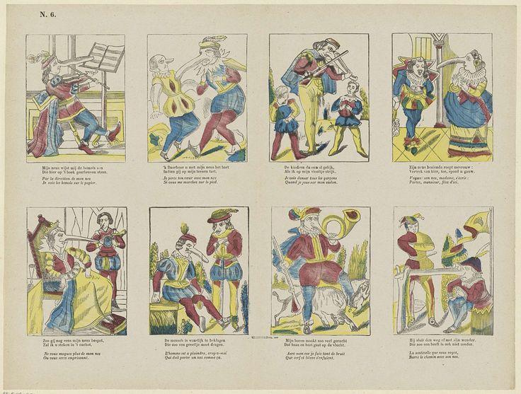 Franciscus Antonius Beersmans | Spotprent op neuzen, Franciscus Antonius Beersmans, Anonymous, 1866 - 1902 | Blad met 8 komische voorstellingen van figuren met grote en misvormde neuzen. Onder elke voorstelling een tweeregelig vers in het Nederlands en in het Frans. Genummerd linksboven: N. 6.