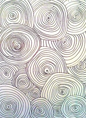 I LOVE line designs! Draw three or more shapes (circle, square, star...) anywhere on your paper. Add concentric lines around the original shapes and continue adding concentric lines until the space is full.