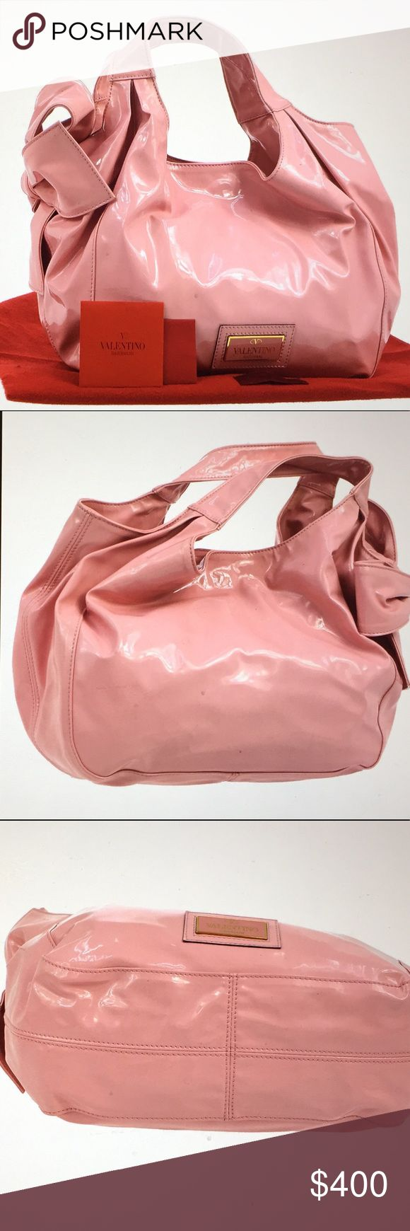 """🆕 Valentino Garavani """" Pure Haven"""" Pink Handbag Authentic VG Pink patter leather, Iconic bow details, zipper compartment, two pockets, gold hardware, in very good condition, dimensions: L 11.8 x H 9.4 approx. S# BG E 963LAA1 , comes with dust bag. Valentino Garavani Bags Shoulder Bags"""