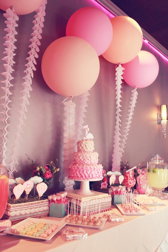 1st Birthday + Christening Cake/Dessert Table - Conceptual theme production, cookies, + favors by ATELIERCHRISTINE.COM, photo: Melody Melikian #party #kids #desserttable #pink #blush