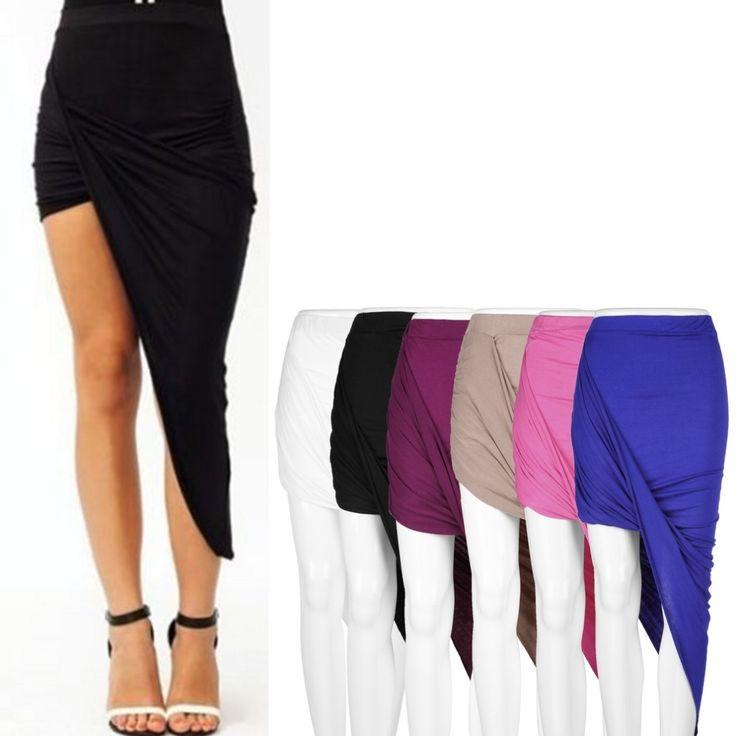 1Pc XL Draped Asymmetrical High Waisted Stretch Bodycon Low Maxi Skirts New Brand New