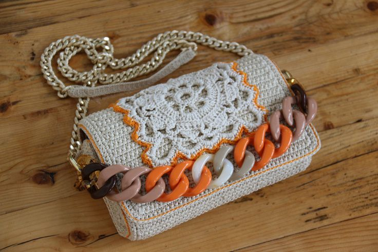 borsa uncinetto macrame resine catena di PaolaCollection su Etsy