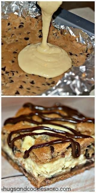 Chocolate Chip Cookie Bars Stuffed with Cheesecake.