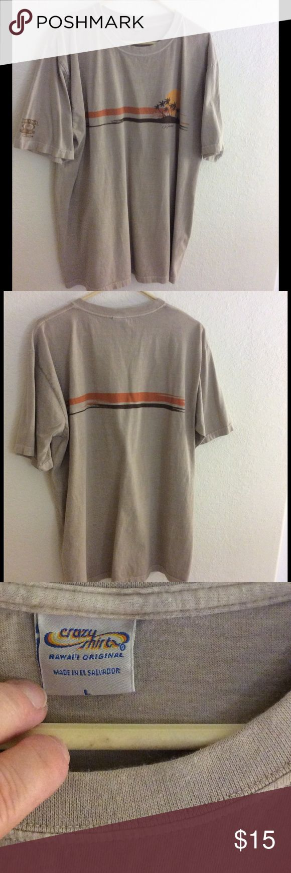 Crazy Shirts Kona Coffee-Dyed Hawaii T Shirt Great T in tan with palm tree sunset graphic, by Crazy Shirts. 100% combed cotton. Size L Excellent used condition. Crazy Shirts Shirts Tees - Short Sleeve