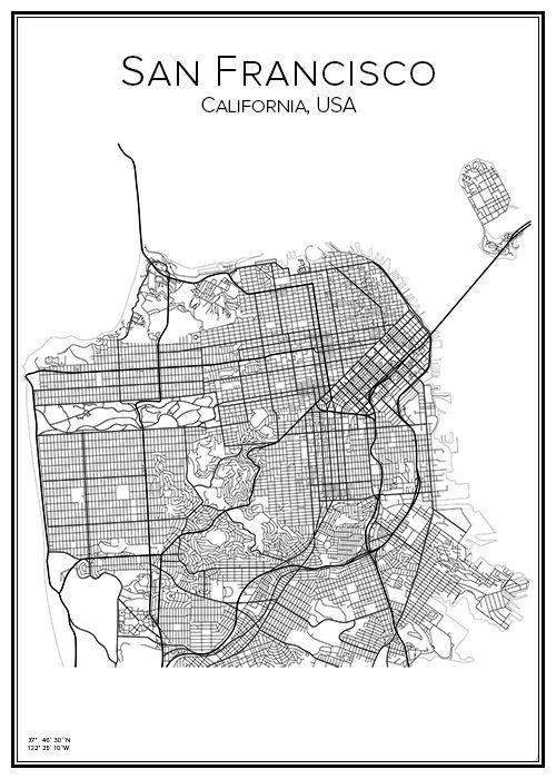 San Francisco. California. USA. Karta. City print. Print. Affisch. Tavla. Tryck.