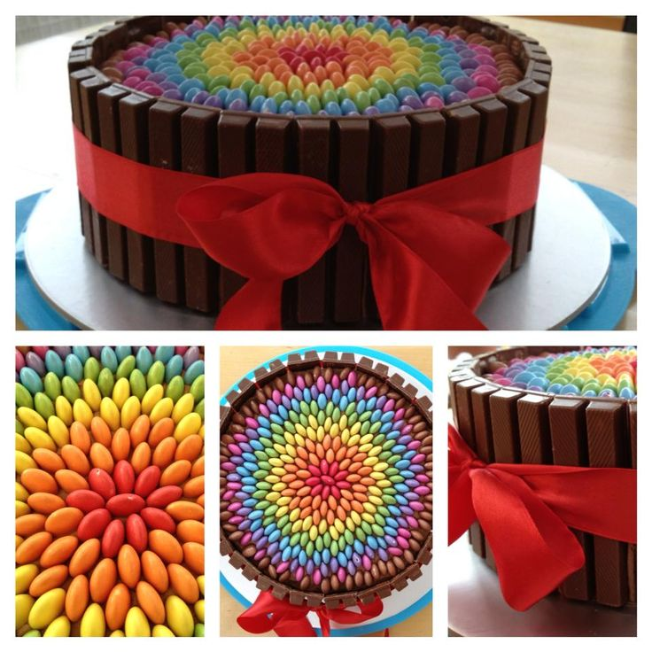 Smarties and kitkats cake
