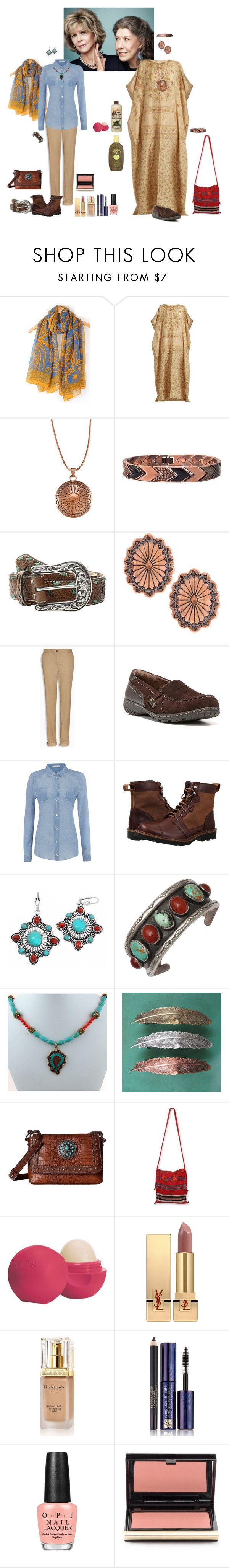 """Grace and Frankie"" by shulabond on Polyvore featuring Mes Demoiselles..., Southwest Moon, BillyTheTree, M&F Western, Naturalizer, Marella, Chrome, BOBBY, NOVICA and Eos"