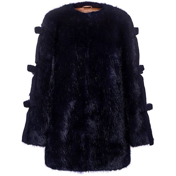 Shrimps - Elsie Bow Ties Fur Coat ($895) ❤ liked on Polyvore featuring outerwear, coats, bow coat, long sleeve coat, blue fur coat, collarless coats and shrimps coat