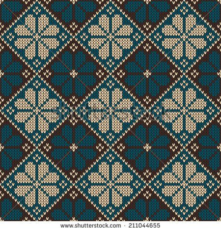 Seamless pattern ornament on the wool knitted texture. Vector illustration